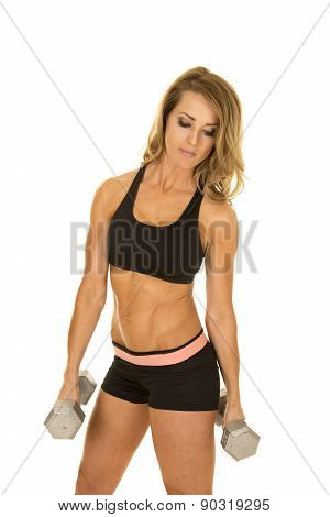 Fit Woman In Black Shorts And Top Weights By Side Look Down
