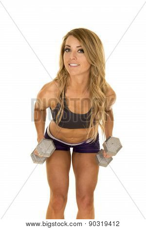 Fit Woman In Purple Shorts With Weights Bend Over Forward