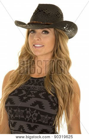 Woman In Black And Gray Dress Cowgirl Hat Close