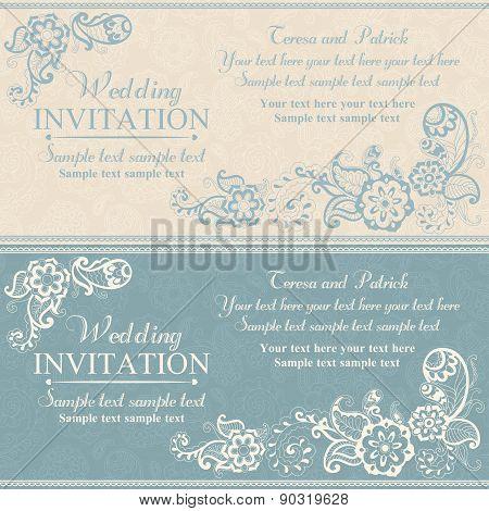 Wedding invitation in east turkish style, blue