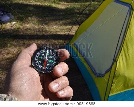Compass And Tourist Tent.