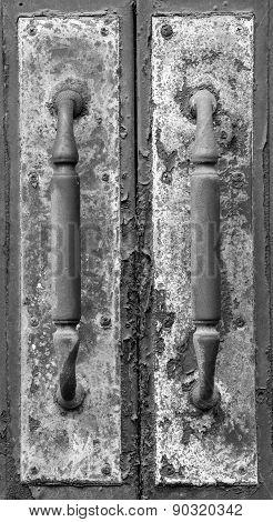 Old Door Handles Black and White