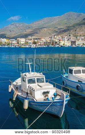 Fisherman's boat in Greek blue and white, Greece