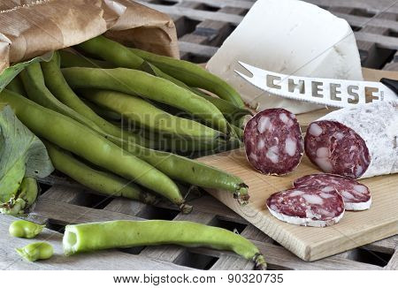 Fave E Salame, Broad Beans With Salami And Sheep Cheese