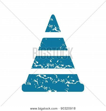 Grunge traffic cone icon