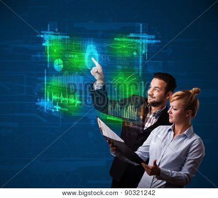 Business couple pressing modern technology panel with finger print reader
