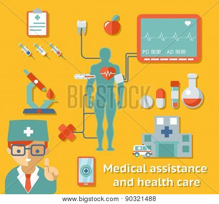 Medical assistance and health care concept