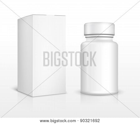Blank medicine bottle and package box