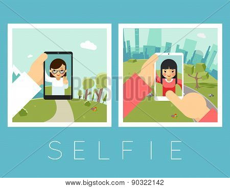 Womens selfie. Outdoor and mountains photos