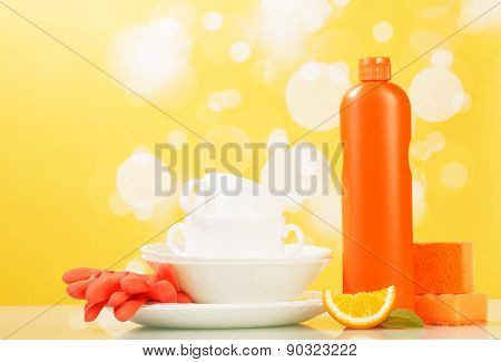 Cleaner, dishes and sponge