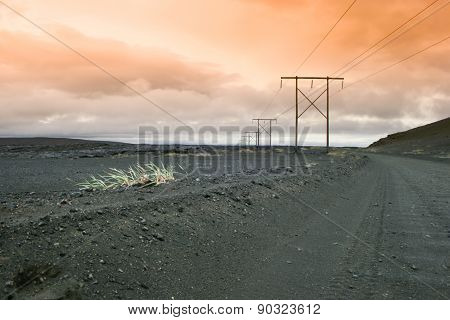 Icelnadic landscape with typical power lines