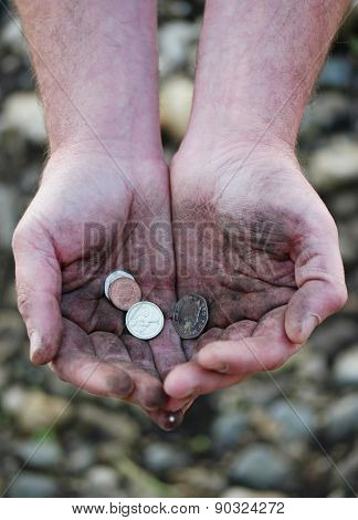 Dirty cupped hands holding few coins, high-angle close-up, concept of poverty, injustice, third world or low-paid hard work