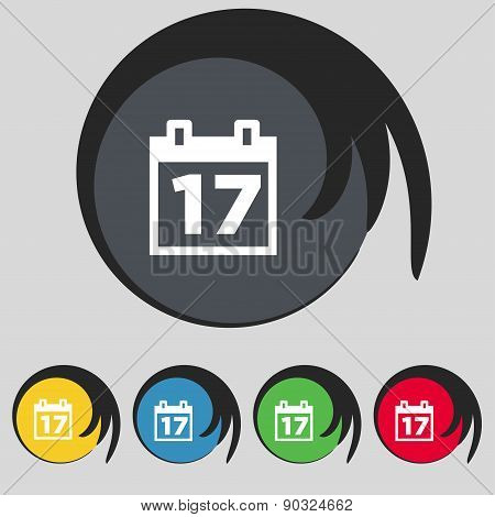 Calendar, Date Or Event Reminder Icon Sign. Symbol On Five Colored Buttons. Vector