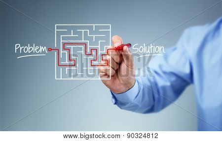 Business strategy businessman planning and finding a solution through a drawing of a labyrinth maze