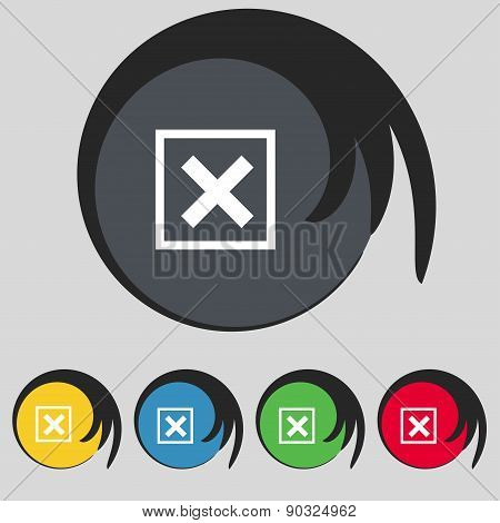 Cancel  Icon Sign. Symbol On Five Colored Buttons. Vector