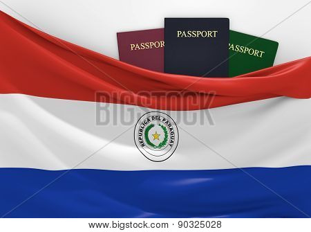 Travel and tourism in Paraguay, with assorted passports
