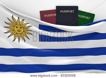 Travel and tourism in Uruguay, with assorted passports