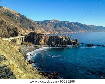 Bridge by the sea on the Pacific Coast Highway