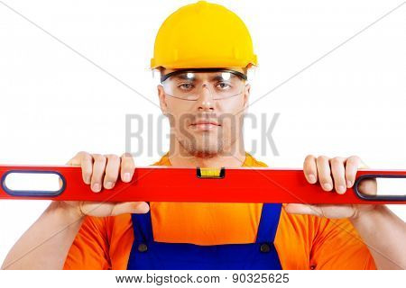 A construction worker working with building level. Job, occupation. Isolated over white.