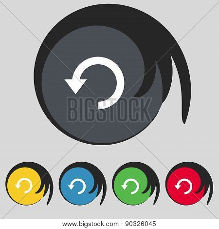 Upgrade, Arrow, Update Icon Sign. Symbol On Five Colored Buttons. Vector