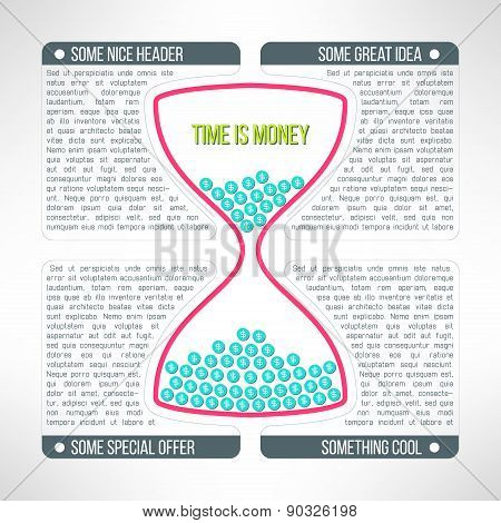 Vector business infographics template with sandglass. Advertising diagram with timer. Time is money