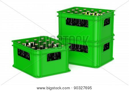 Green Plastic Box With Bottles