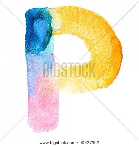 Letter P - colorful watercolor abc
