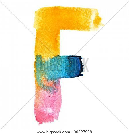 Letter F - colorful watercolor abc