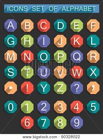 Vector Set Flat Symbols Of Alphabet