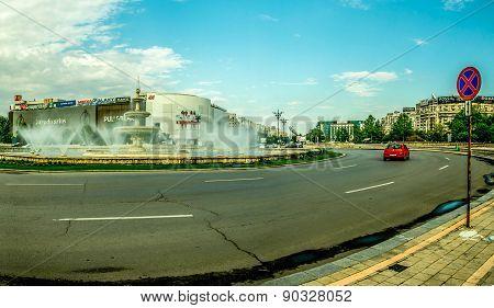 Bucharest Unirii Square Fountain