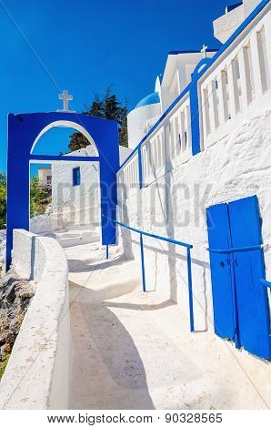 Greek church with iconic blue and white stairs