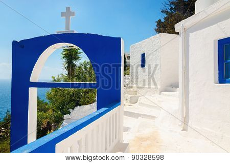 Greek church with iconic blue colors, Greece