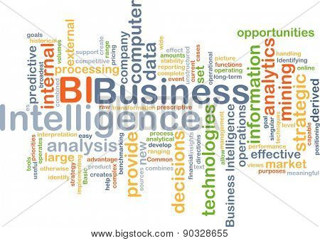 Background concept wordcloud illustration of business intelligence BI
