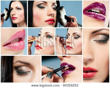 photo collage of a beautiful girl doing make-up