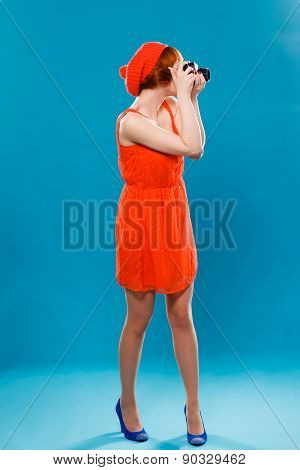 French woman wearing beret.  camera, photographer,