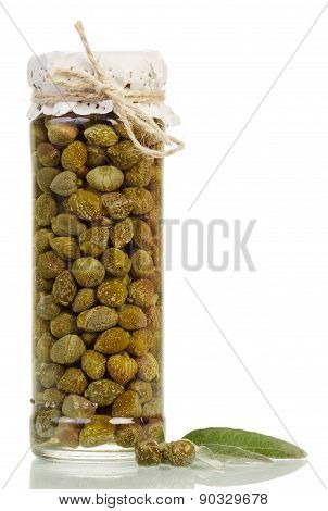 Glass jar with capers