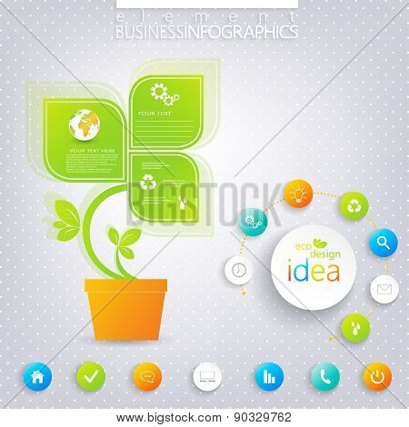 Modern green infographic design with place for your text.