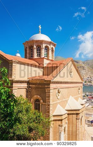 Greek church with classic red roof, Greece