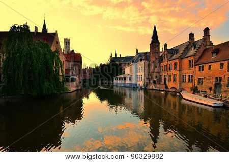 Sunset over the canals of Bruges, Belgium