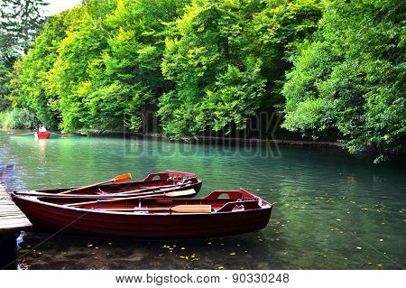 Docked boats, Plitvice Lakes National Park, Croatia