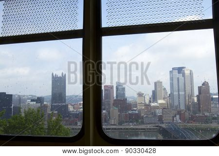 Pittsburg Skyline From Inside Monongahela Incline Car