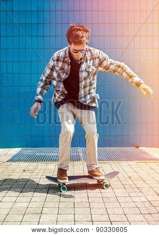 Skateboarder Jumping In City