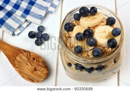 Blueberry and banana overnight oatmeal in mason jar