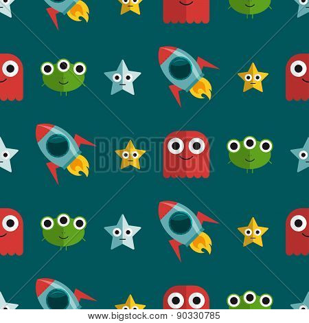 Seamless Pattern With Aliens And Rockets