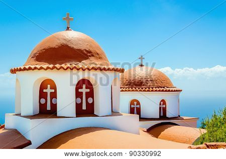 Typical church with red roof, Greek island, Greece