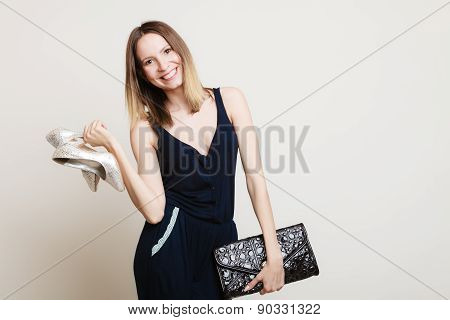 Stylish Woman Fashion Girl Holds Handbag And Shoes