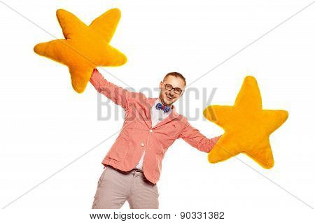 The Acting Man On White Background
