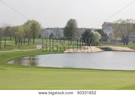 Spring View of Seven Bridges of Poplar Creek Golf Course in Hoffman Estates, Illinois