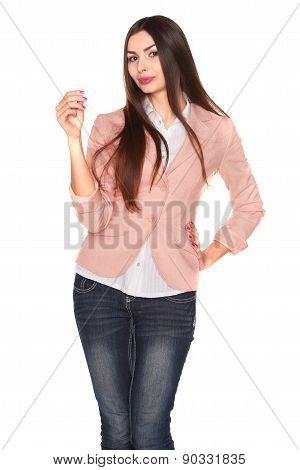 Woman holding credit card isolated on white background