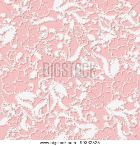 Unusual Pink Seamless Pattern Background With White Intertwined Flowers.